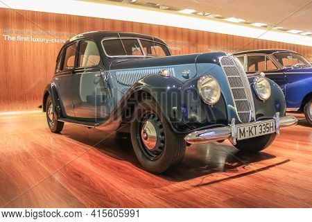 Germany, Munich - April 27, 2011: Bmw 335 In The Exhibition Hall Of The Bmw Museum. The Car Was Prod