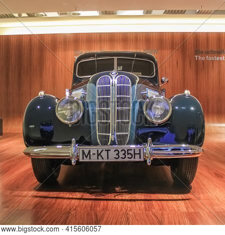 Germany, Munich - April 27, 2011: Bmw 335 6-cylinder Sports Sedan In The Bmw Museum Exhibition Hall