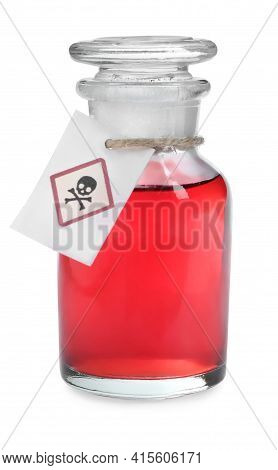 Apothecary Bottle With Poison Isolated On White