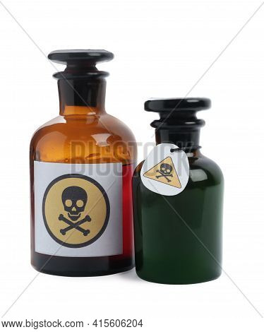 Apothecary Bottles With Poison On White Background