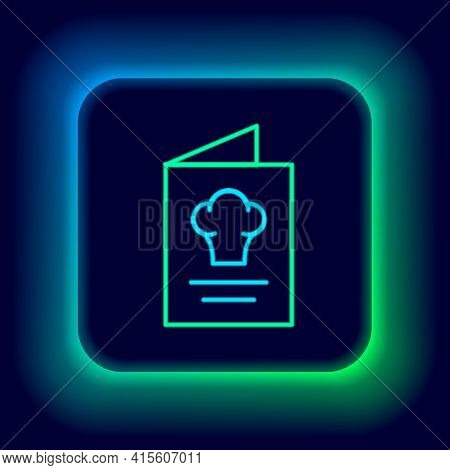 Glowing Neon Line Cookbook Icon Isolated On Black Background. Cooking Book Icon. Recipe Book. Fork A