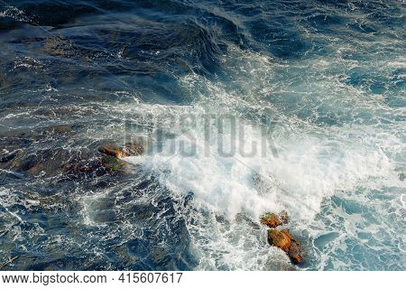 Crushing Sea Waves Texture. Beautiful Nature Background View From Above. Unbelievable Blue Color Of
