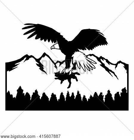 Eagle, Flight - Wildlife Stencils - Freedom Eagle Silhouette, Wildlife Clipart Isolated On White