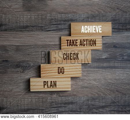 Wooden Pieces With Business Terms Plan, Do, Check, Take Action And Achieve On Wooden Background