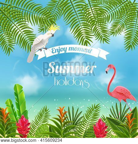 Tropical Paradise Background With Blurred Image Of Sea Shores With Flamingo Parrot And Leaves With T