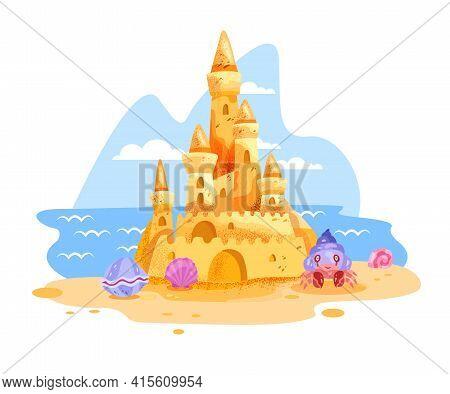 Sand Castle Vector Illustration, Summer Beach Cartoon Clipart Isolated On White, Ocean, Sky, Clouds.