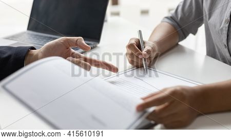 Sign a document, Signing of employment contract documents, Applicants are legally selected to work i