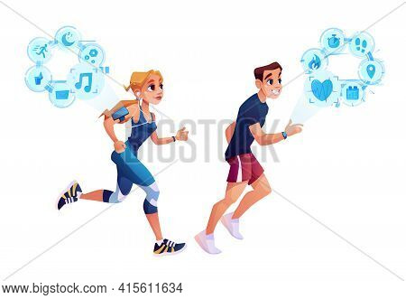 Smart Run Concept, Man And Woman Jogging With Smart Watch Health Tracker Application. Vector Slimmin