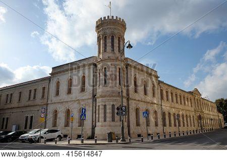 Jerusalem, Israel - March 08, 2021: Mission Of Saint Sergius Or Guest House Of Saint Sergius Was Bui