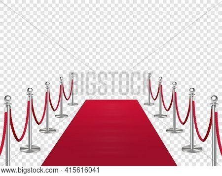 Red Carpet With Metal Column Guard Isolated On Transparent Background. Entertainment, Festival Event