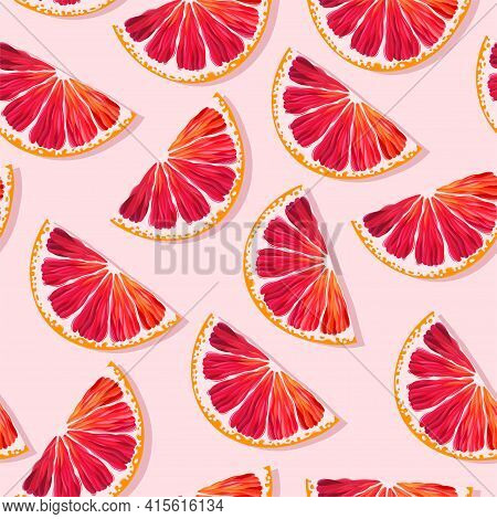 Seamless Vector Pattern With Red Grapefruit Slices