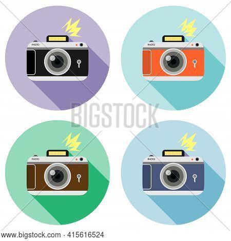 Retro Photo Camera. Set Of Retro Cameras Isolated On White Background. Vector Illustration. Vector.