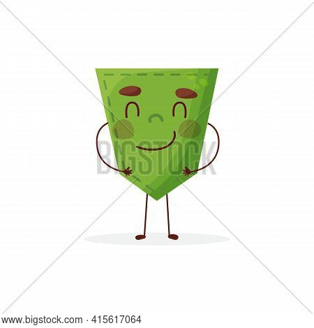 Cucumber-shaped Patch Pocket. Character Pocket Cucumber. Cartoon Style. Isolated On White Background