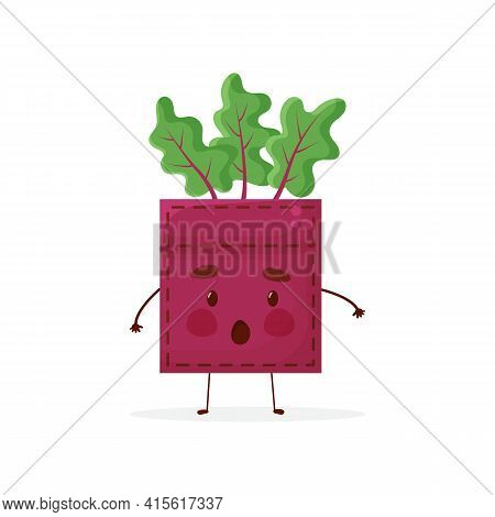 Beet-shaped Patch Pocket. Character Pocket Beet. Cartoon Style. Isolated On White Background. Design
