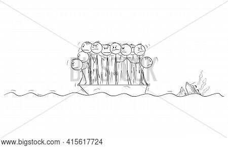 Group Of People Or Businessmen Standing Helplessly On Small Lifeboat, Ocean Ship Is Sinking On Backg