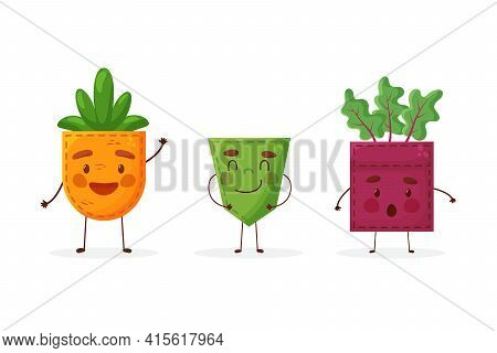 Set Carrot Cucumber Beet Shaped Patch Pocket. Character Pocket Carrot Cucumber Beet. Cartoon Style.