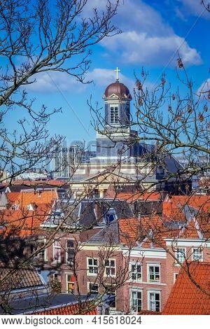 Panoramic View On The Hartebrugkerk Church In Leiden, Netherlands