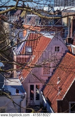 Facades And Roofs  Of Traditional Dutch Houses In Leiden, Netherlands