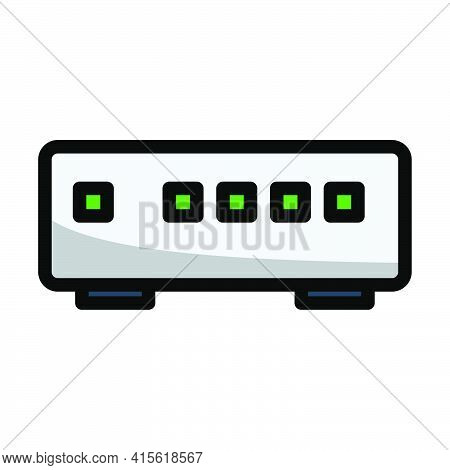 Ethernet Switch Icon. Editable Bold Outline With Color Fill Design. Vector Illustration.