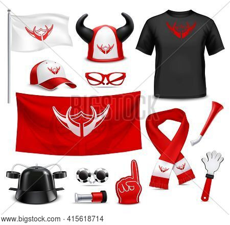 Sport Club Fans Buffs And Supporters T-shirt Flags And Accessories Red Black Design Realistic Set Ve