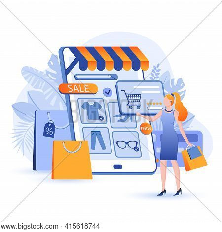Online Shopping Scene. Woman Buys Clothes On Store Website Via Smartphone. Sales And Discounts, Onli