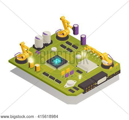 Intelligent Manufacturing Isometric Composition With Robotic Hands Assembling Semiconductor Electron