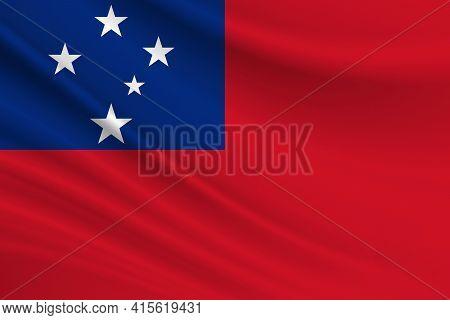 Flag Of Samoa. Fabric Texture Of The Flag Of Samoa.