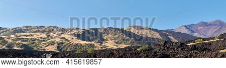 Mount Etna In Sicily, Tallest Active Europe Volcano In Italy. Panoramic Wide View Of The Active Volc