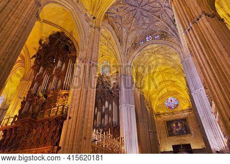 Sevilla Spain - September 21, 2011: Interior of Cathedral La Giralda at Sevilla Spain.