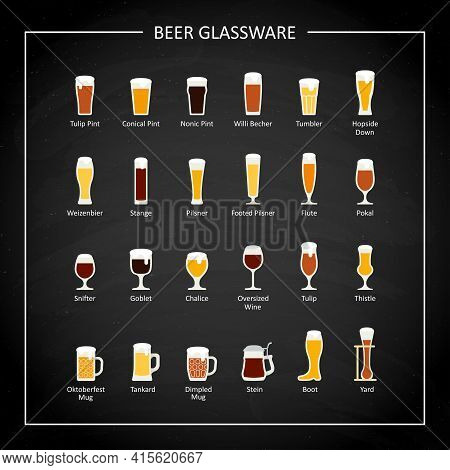 Types Of Beer Glasses, Flat Icon On Black Chalkboard. Vector