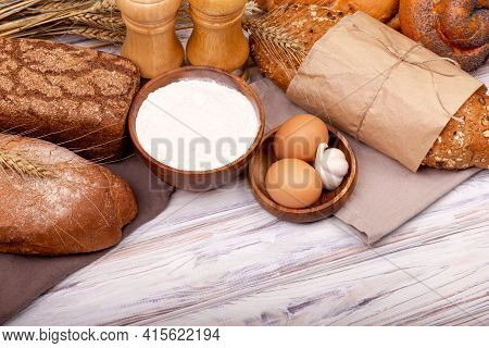 Organic Ingredients For Bread Preparation. Preparing Dough For Baking. Process Of Making Homemade Br