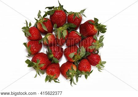 Red Berries Batch Of Strawberries Isolated On White Background