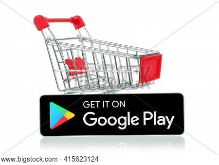 Kiev, Ukraine - February 17, 2021: Get It On Google Play Black Button With Shopping Cart, On White B