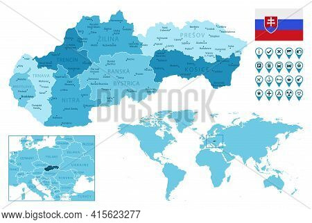 Slovakia Detailed Administrative Blue Map With Country Flag And Location On The World Map. Vector Il