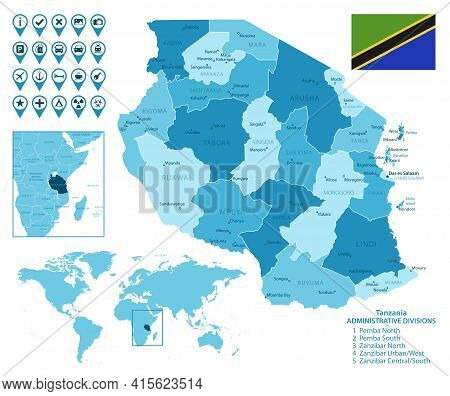 Tanzania Detailed Administrative Blue Map With Country Flag And Location On The World Map. Vector Il