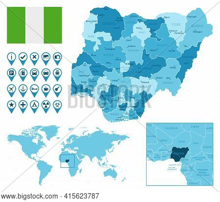 Nigeria Detailed Administrative Blue Map With Country Flag And Location On The World Map. Vector Ill
