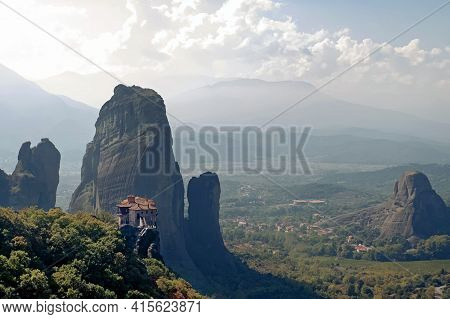 Panoramic View Of Scenic Rocks And Monasteries Of Meteora, Greece