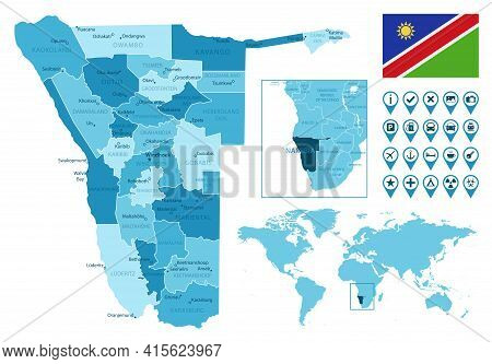 Namibia Detailed Administrative Blue Map With Country Flag And Location On The World Map. Vector Ill
