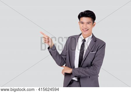Portrait Young Asian Business Man Pointing And Presenting Isolated On White Background, Advertising