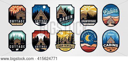 Set Of Vector Cottage Outdoor Logo Emblem Vector Illustration Design, Adventure Cabin Camp Badge Vec