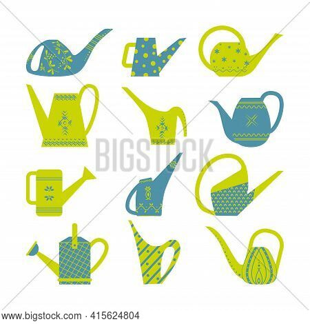 Set Of Garden Watering Cans For The Garden. Bright Watering Cans With Patterns. Flat Style Vector Il
