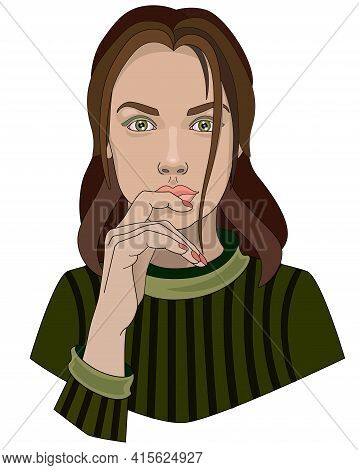 A Lovely Green-eyed Girl In A Green Sweater Touches Her Lips With Her Hand - Vector Full Color Illus
