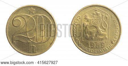 Czechoslovakia Twenty Hellers Coin On White Isolated Background