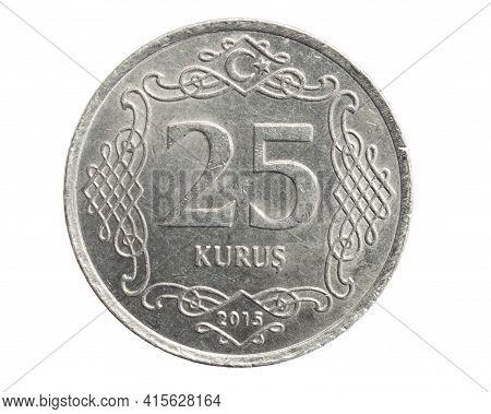 Turkey Twenty Five Kurus Coin On A White Isolated Background