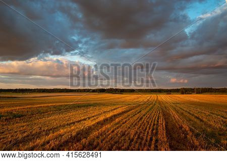 View Of The Stubble Field And Clouds During Sunset, Summer Rural Landscape