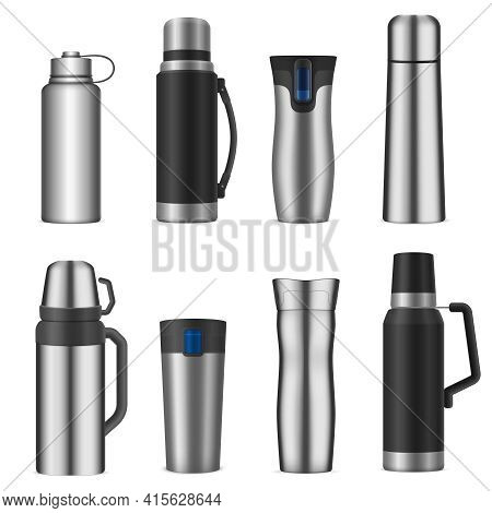 Vacuum Bottles Flasks Insulating Storage Vessels For Drinks Food Stainless Steel  Realistic Types Se