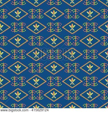 Vector Fleur-de-lys Diamond Shape Frames Seamless Pattern Background. Rows Of Royal French Lilies An