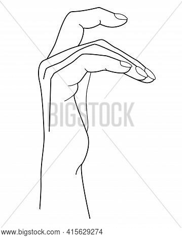 Hand. Hand With Bent Fingers - Vector Linear Illustration For Coloring. Woman's Brush. Outline.