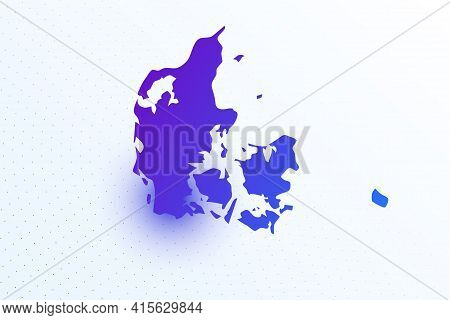 Map Icon Of Denmark. Colorful Gradient Map On Light Background. Modern Digital Graphic Design. Light
