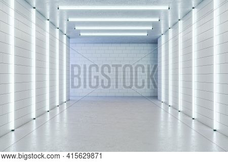 Empty White Gallery With Fluorescent Lights And A Blank White Wall In The Background, Concrete Floor